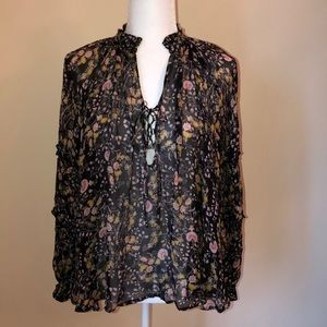 Free People All For You Black Floral Blouse